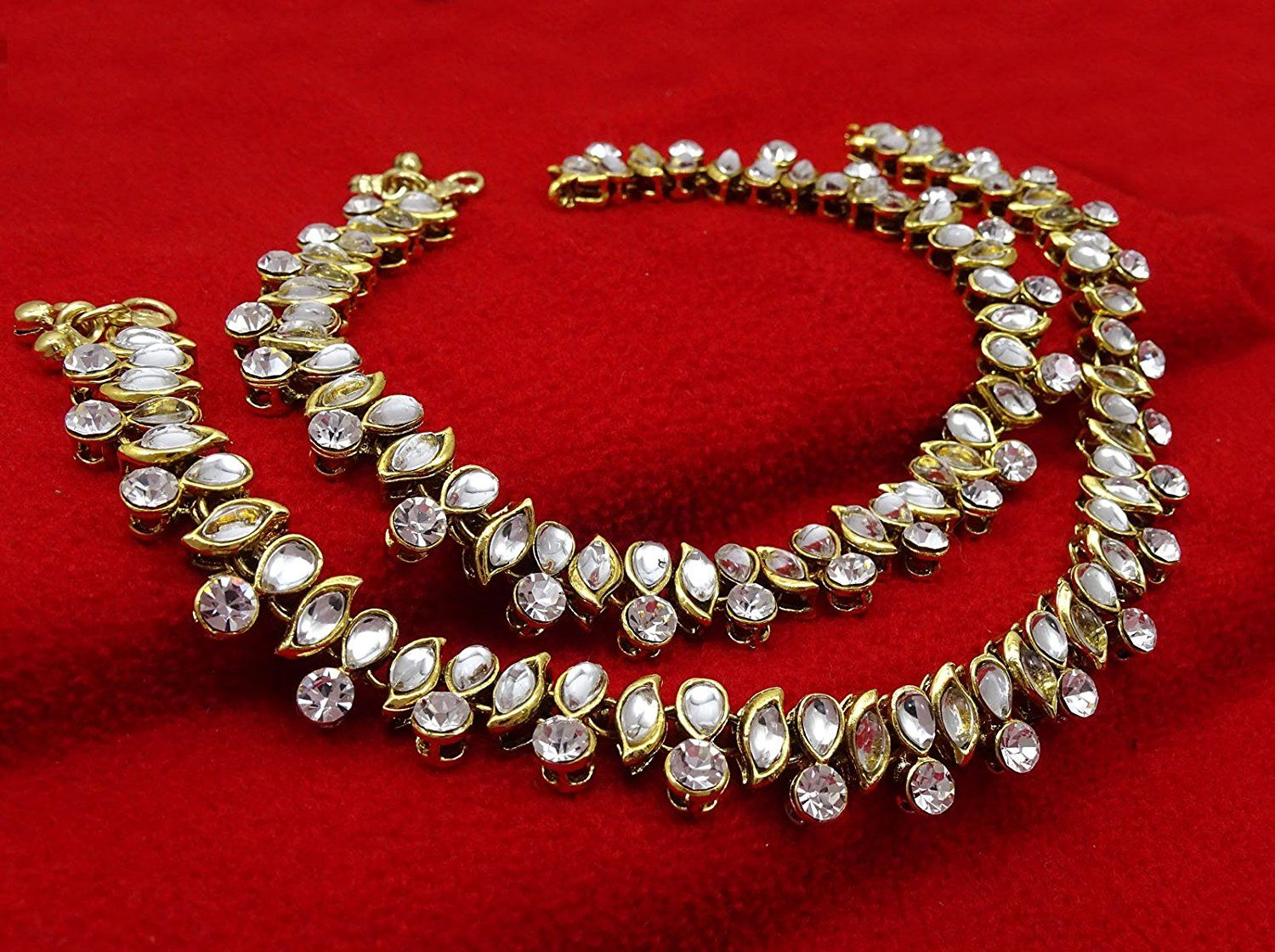 Anklets Banithani Traditional Indian Gold Tone Beaded Women