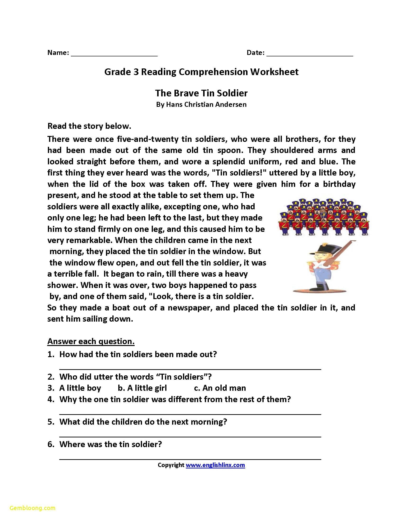 3 Worksheet Reading Comprehension Worksheets Third Grade 3