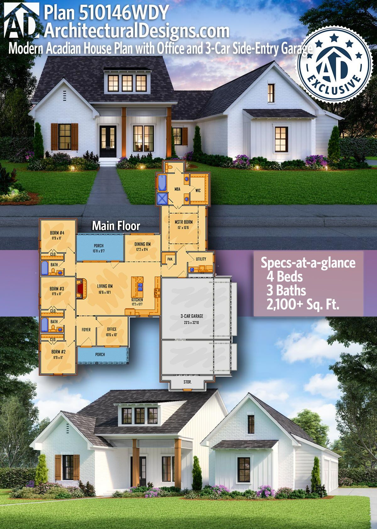 Plan 510146WDY: Modern Acadian House Plan with Office and ...
