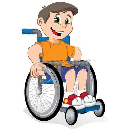 Discapacitados felices ilustraci n de un ni o sonriente ni o en una silla de ruedas ideal para - Silla de ruedas ninos ...