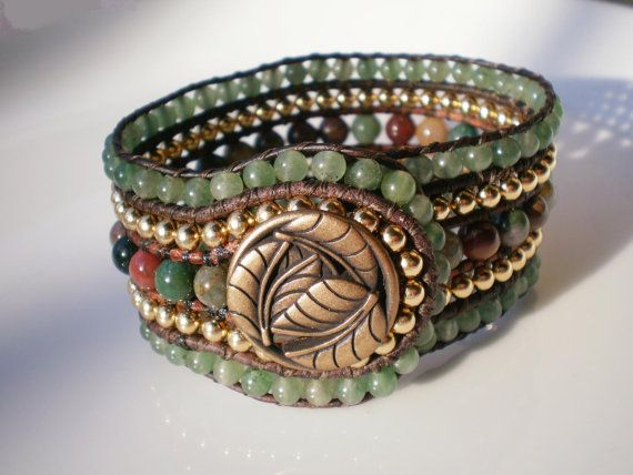 5 Row Beaded Cuff FREE SHIPPING USA Leather by RopesofPearls