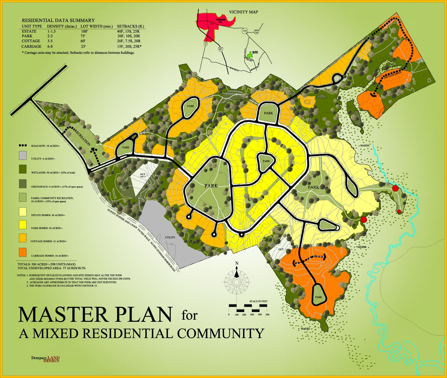 Master plan for a mixed residential community dempsey land design residential plan for Subdivision planning and design