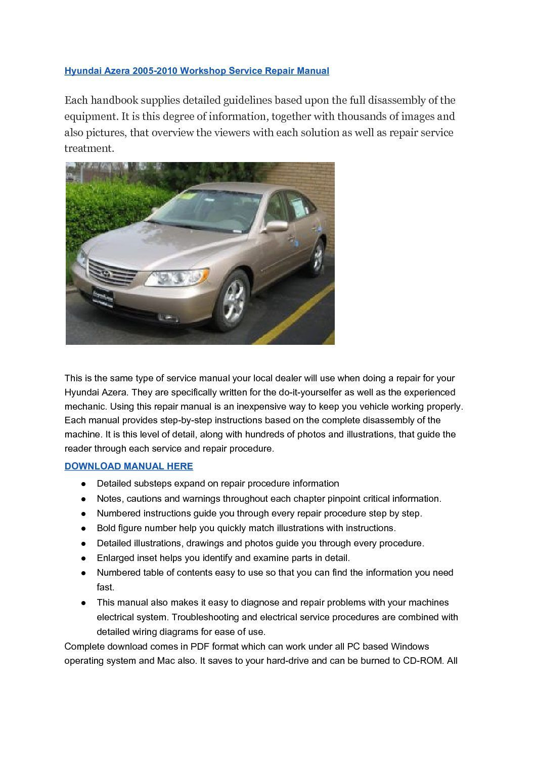 assistance, Hyundai Azera 2005-2010 Workshop Service Repair Manual , Hyundai  Azera 2005-2010 Workshop Service Repair Manual,Notes, warns as well as  cautions ...