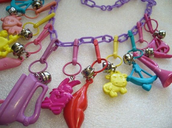 charms of the 1980s | Vintage bell clip charms necklace 1980 by ThePlasticFever on Etsy