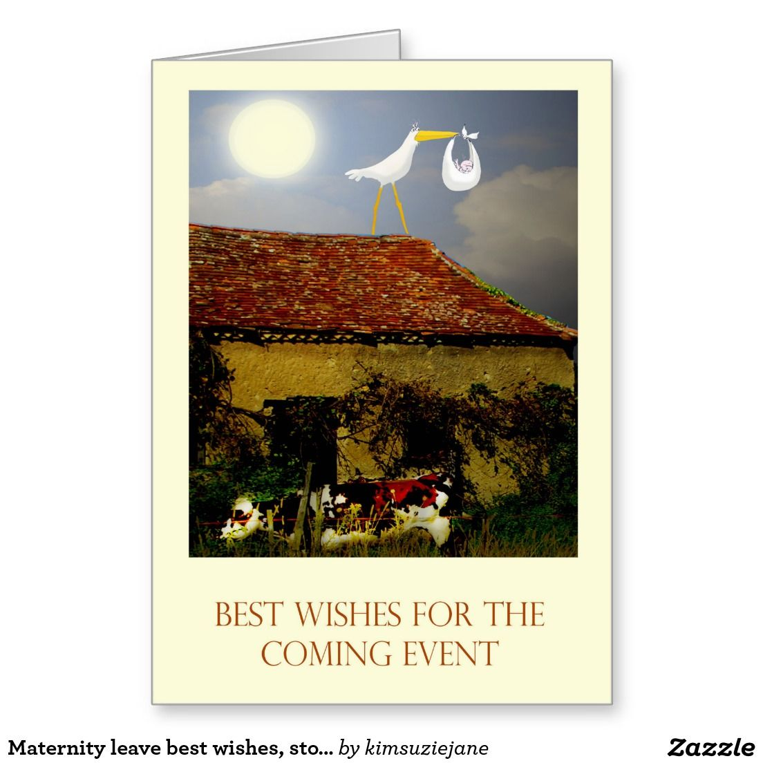 Maternity Leave Best Wishes Stork Baby Moon Greeting Card