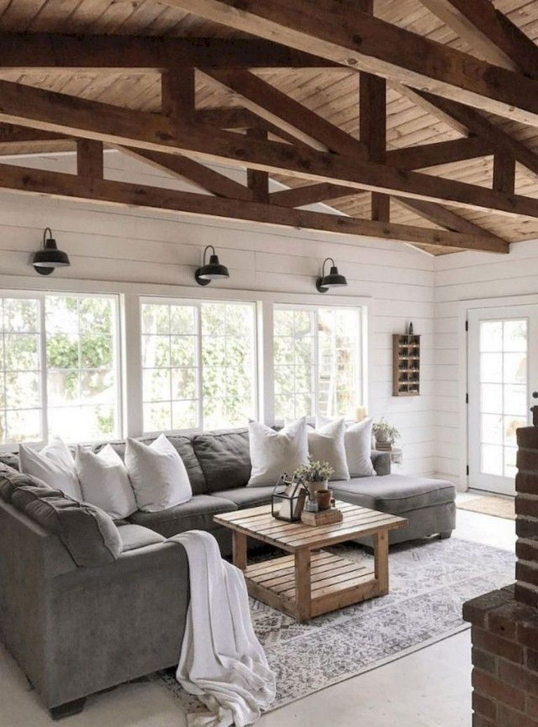 55+ Beautiful Farmhouse Living Room Makeover Decor Ideas - Page 59 of 60