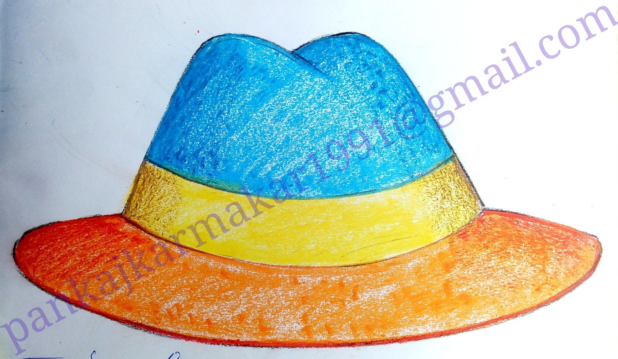 Cowboy Hat With Oil Pastel By Pankaj Karmakar Easy Painting For Kids Scenery Drawing For Kids Art Drawings For Kids