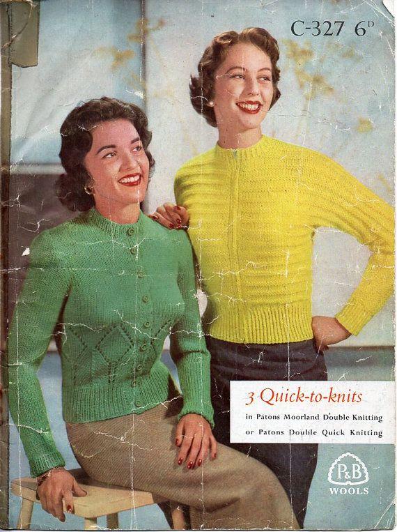 16f1b4352 vintage womens DK cardigans knitting pattern pdf ladies round neck ...
