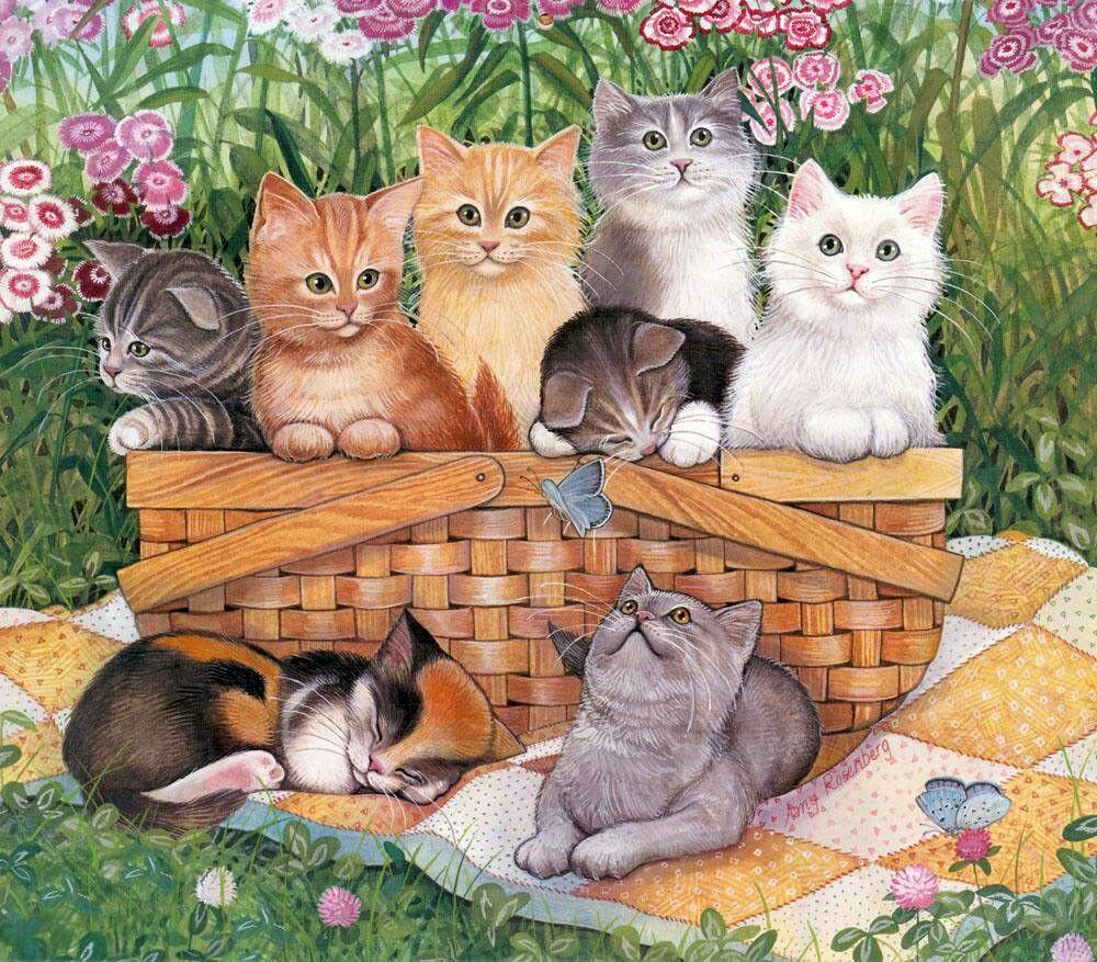 Картинки много кошек для детей