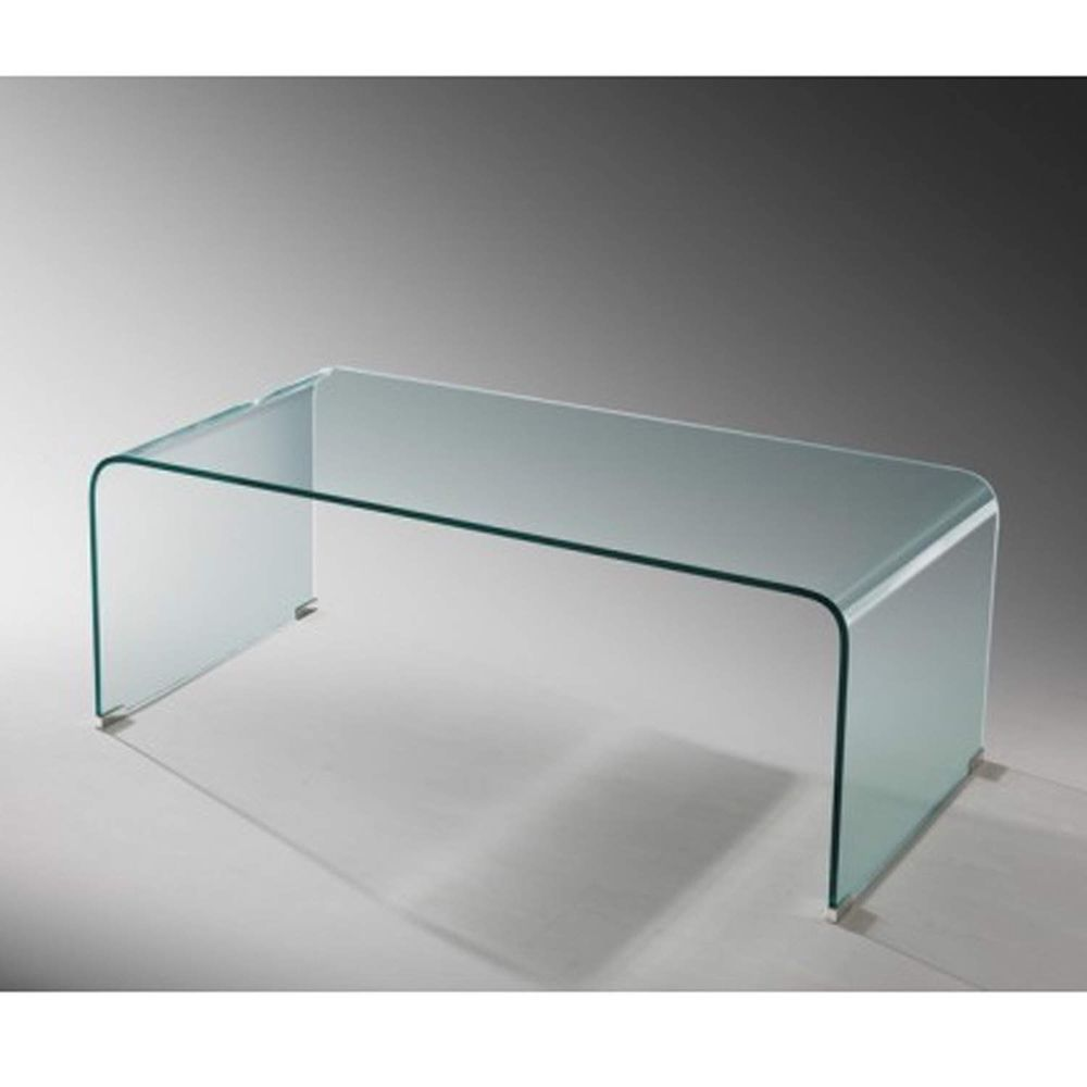 Rectangular Coffee Table Bent Glass Top Curved Shape Living Room