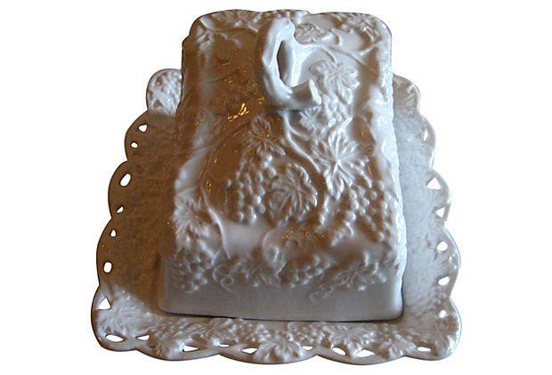 "White Ceramic Cheese Keeper, 8.5"" L x 9.75"" W x 6.75"" H  95 - orig. 300"