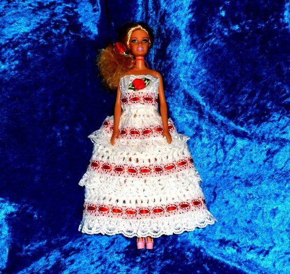 BARBIE DOLLS CLOTHES. Crochet Pattern for Dance Dress. #crochetedbarbiedollclothes