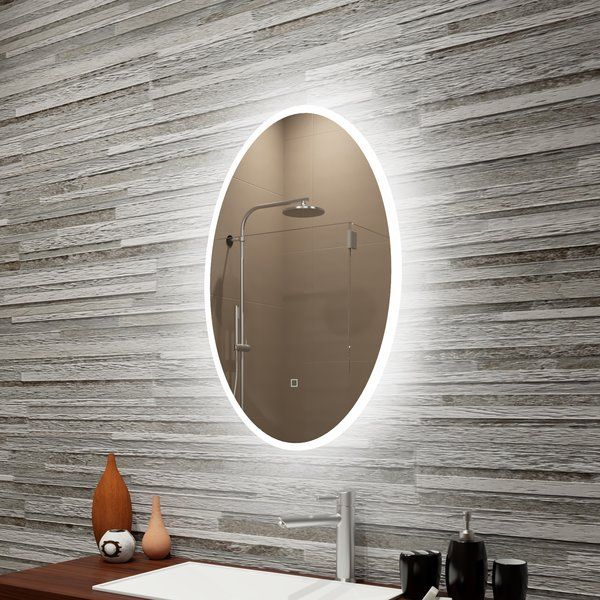 Bomar Reflection Dimmable Led Lighted Frosted Edge Oval