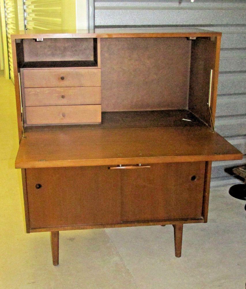Paul Mccobb Planner Group Drop Lid Secretary Desk Tobacco Finish Paul Mccobb Secretary Desks Teak Lounge Chair