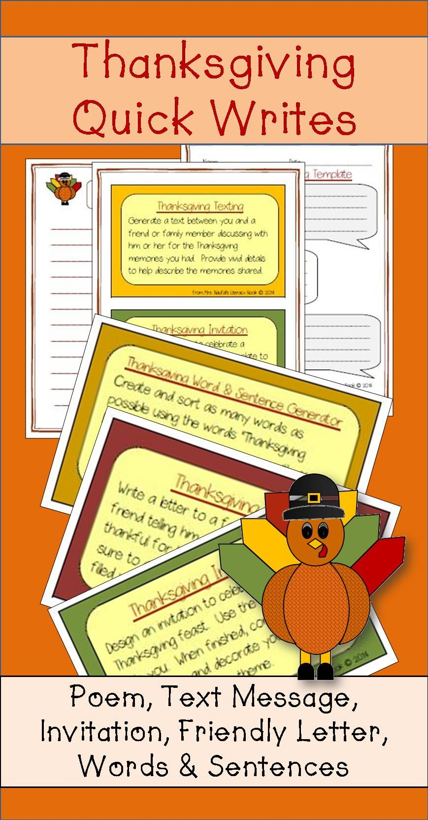 Looking For Some Quick Writing Activities Thanksgiving This Pack Has Poetry Text Message Friendly Letter And Word Sentences Generator