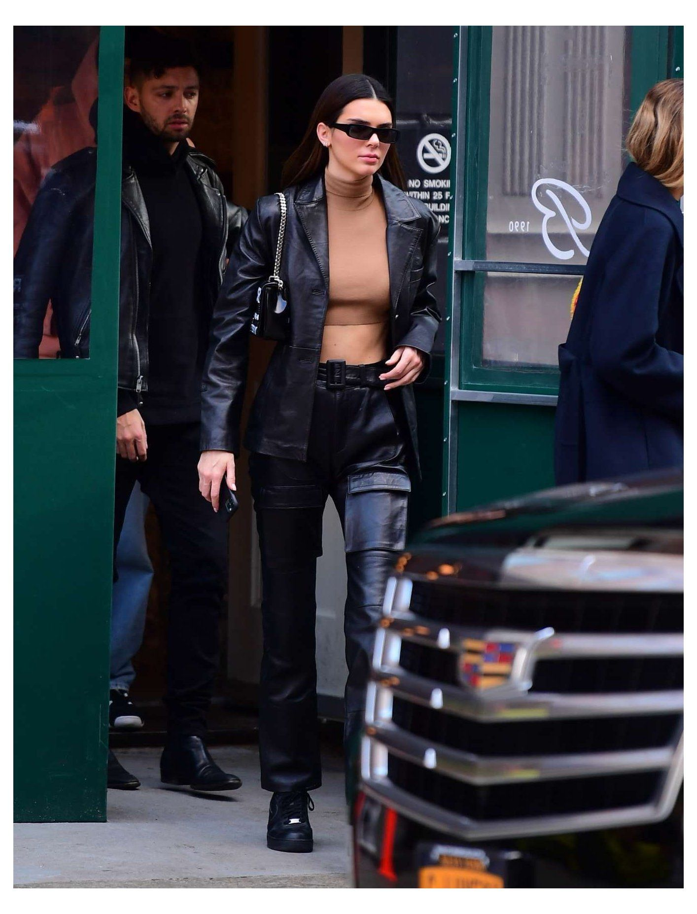Kendall Jenner Black Leather Boots Street Style Autumn Winter 2020 On Lea Kendall Jenner Street Style Kendall Jenner Outfits Street Styles Blazer Street Style [ 1854 x 1414 Pixel ]