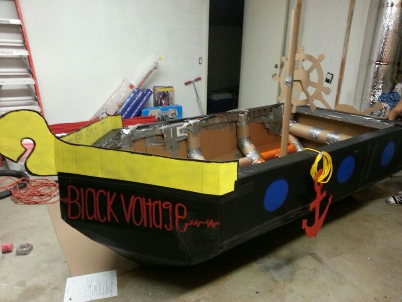Pirate Cardboard Boat For Physics Project Made With Only And Duct Tape