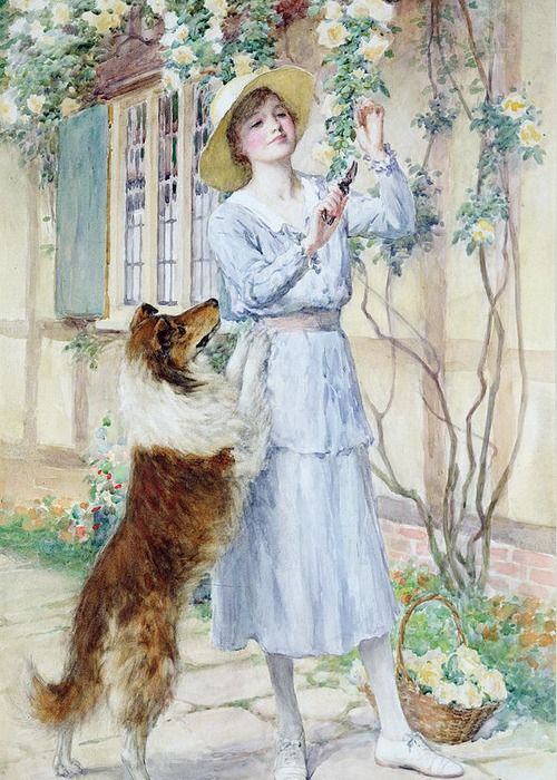Picking Roses Greeting Card For Sale By William Henry Margetson Rose Art Painting Fine Art America