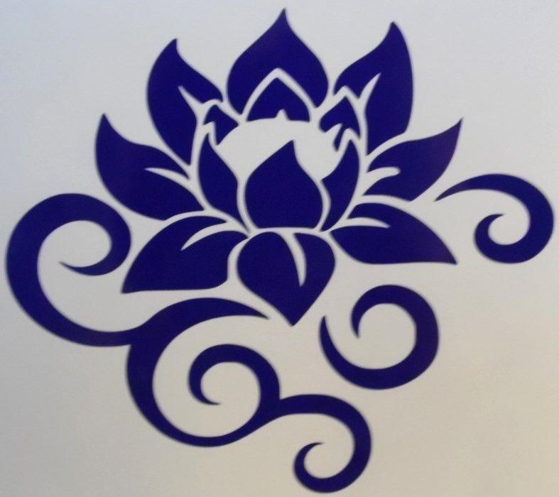 Lotus Flower Scroll Silhouette Car Truck Window Vinyl Decal Sticker