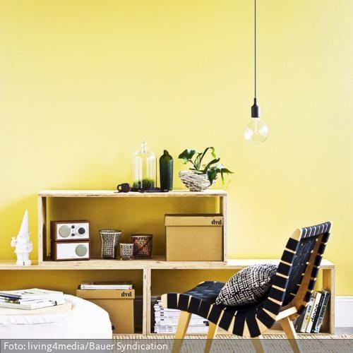 Aus Sperrholz lassen sich Möbel leicht selbermachen Hier wurde - wohnzimmer weis gelb