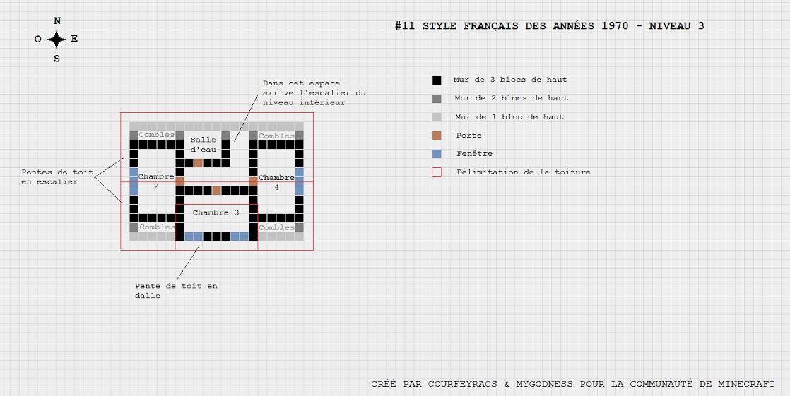Gut gemocht Plan d'une maison de style année 1970 | Minecraft-Constructor  QB47