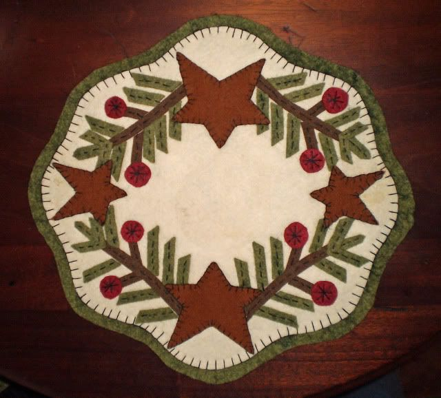 Pattern Penny Rug Spruce Amp Stars Candle Mat Primitive