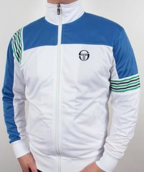 Sergio Tacchini Wilander Bex Casuals Track Top in White/Royal, £59.95. A great 80s style and seen recently in many films including The Firm.