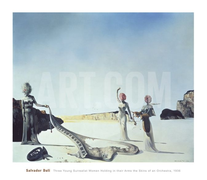 Three Young Surrealist Women Holding in their Arms the Skins of an Orchestra, 1936 Print by Salvador Dalí at Art.com
