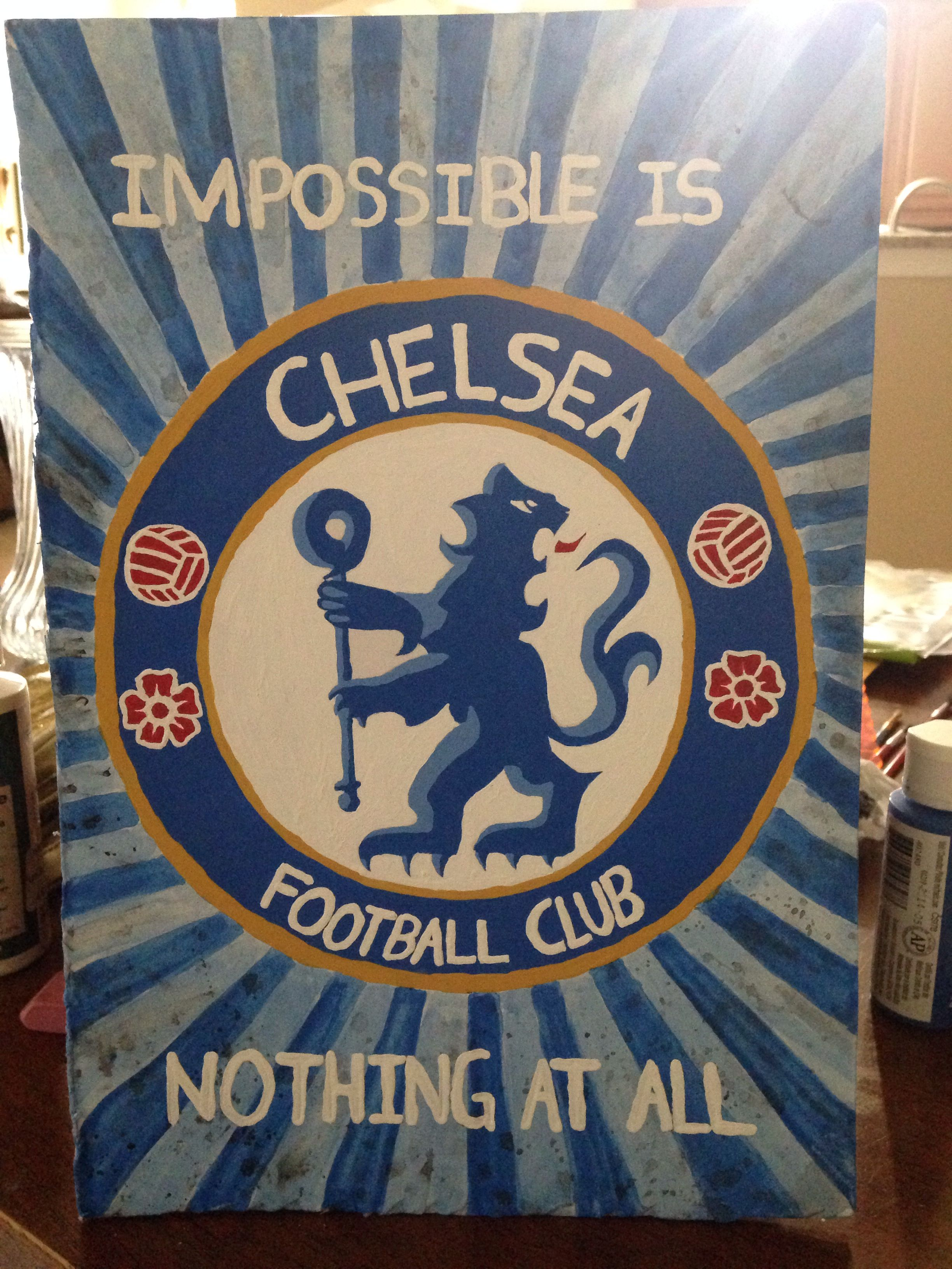 Chelsea Soccer Emblem Made With Acrylic Paints On Foam Board In