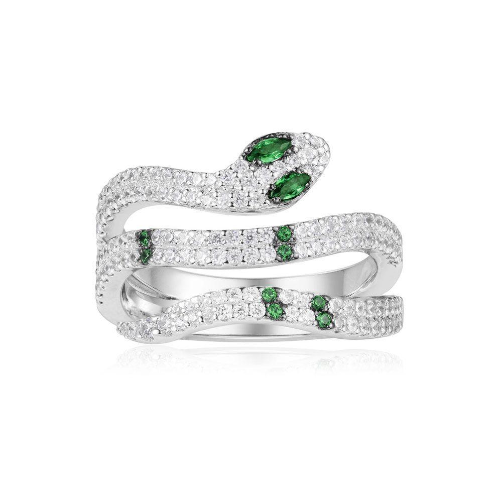 55a142093 APM Monaco - Silver Green Kaa Ring - - A18485XKG | Stuff ...