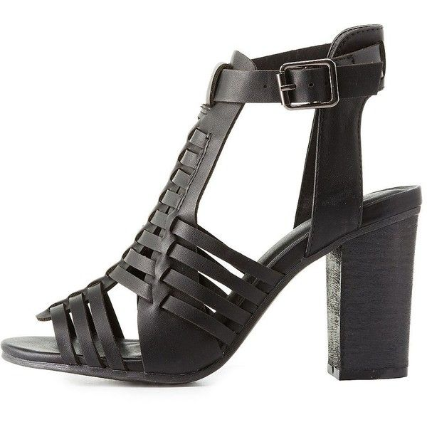 028f985e13c Wild Diva Lounge Chunky Heel Huarache Sandals ( 41) ❤ liked on Polyvore  featuring shoes