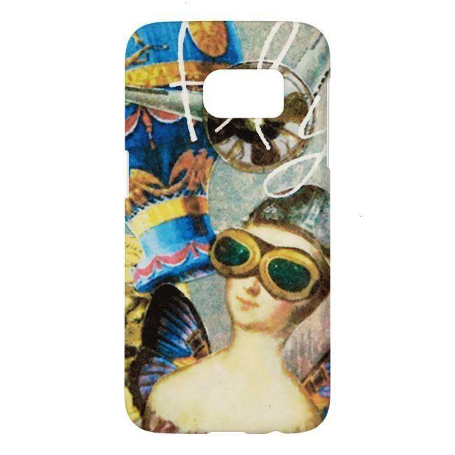 Woman Hot Air Balloon Artistic Steampunk Samsung Galaxy S7 Case whimsical art of Malissa Melrose on