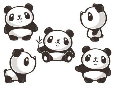 Five Poses Of Panda Panda Artwork Panda Illustration Panda Art