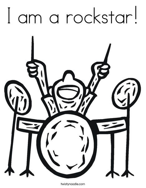 I am a rockstar Coloring Page - Twisty Noodle | Music | Pinterest ...