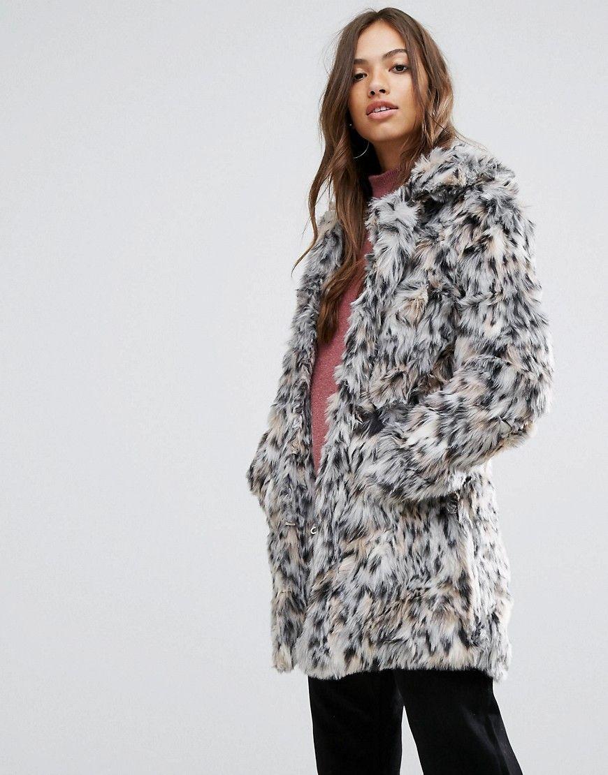8db9ba9b8d09 QED London Wild Cat Faux Fur Coat - Brown faux fur coat street style ...