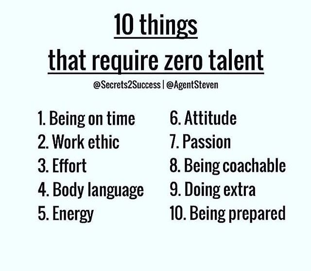 10 Things That Require Zero Talent 1 Being On Time 2 Work Ethics