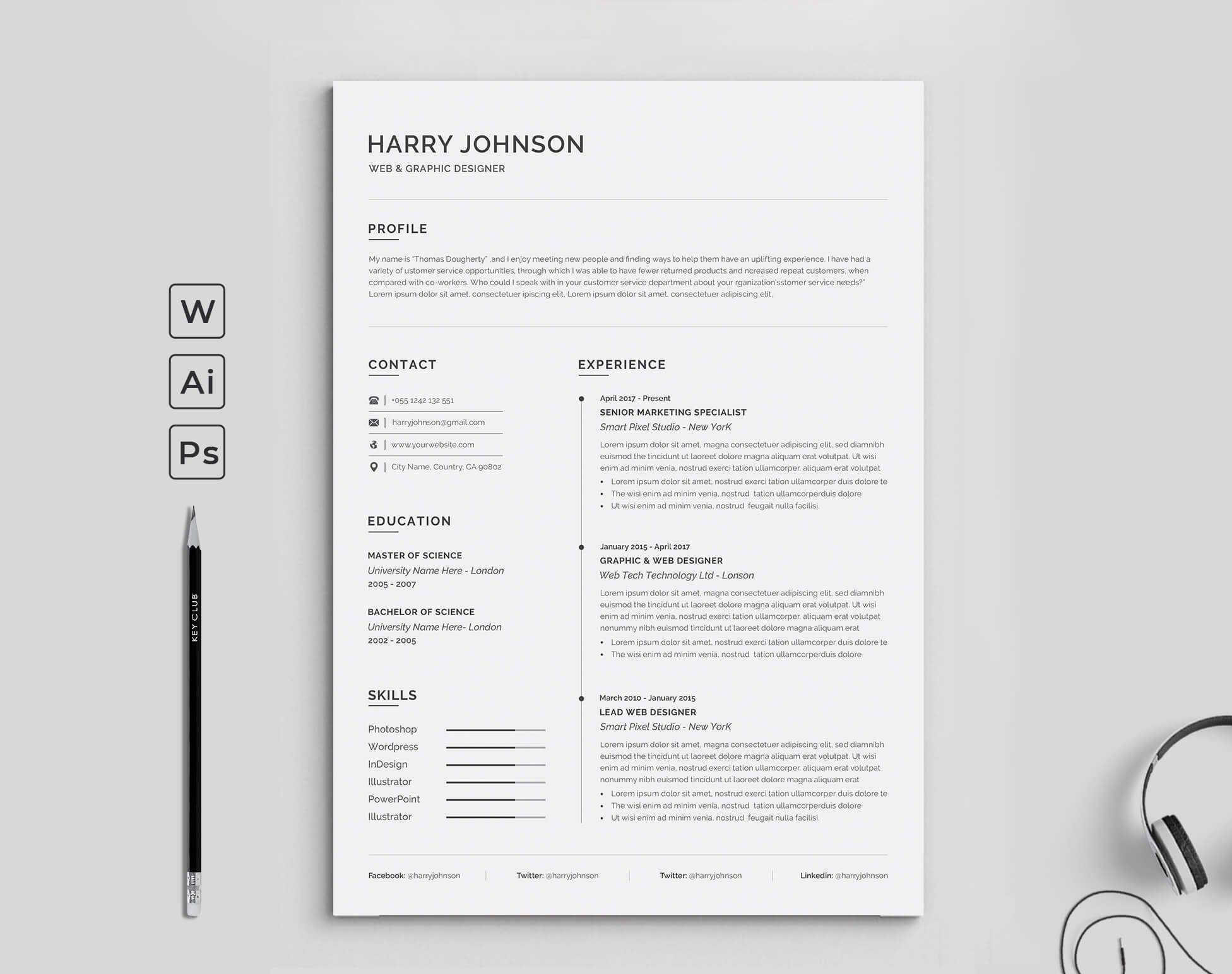 Resume Resume template word, Resume words, Clean resume