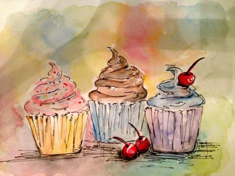 Cupcake Reference Photo Cupcake Illustration Watercolor And Ink