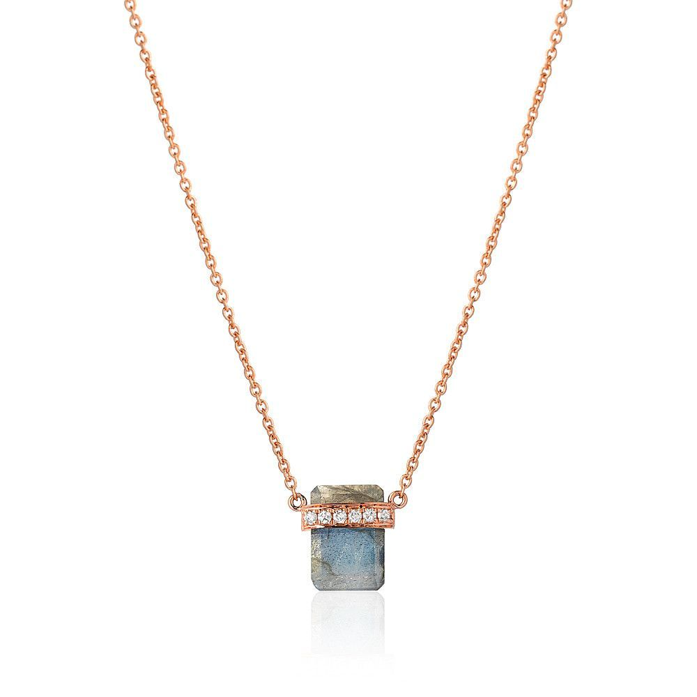 Diamond Wrapped Flat Emerald Cut Labradorite Necklace