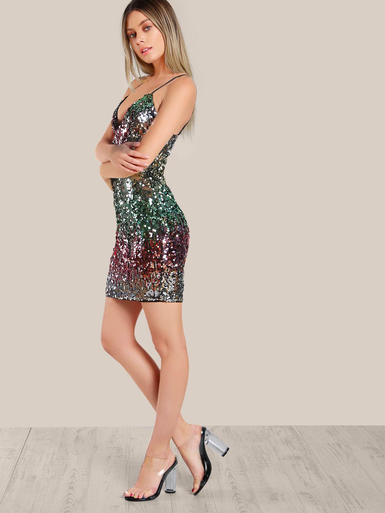 e60a4969 Spaghetti Strap Sequin Dress -SheIn(Sheinside)   Clothes!