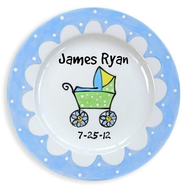 Baby Carriage Boys Hand Painted Ceramic Plate Birth Plate