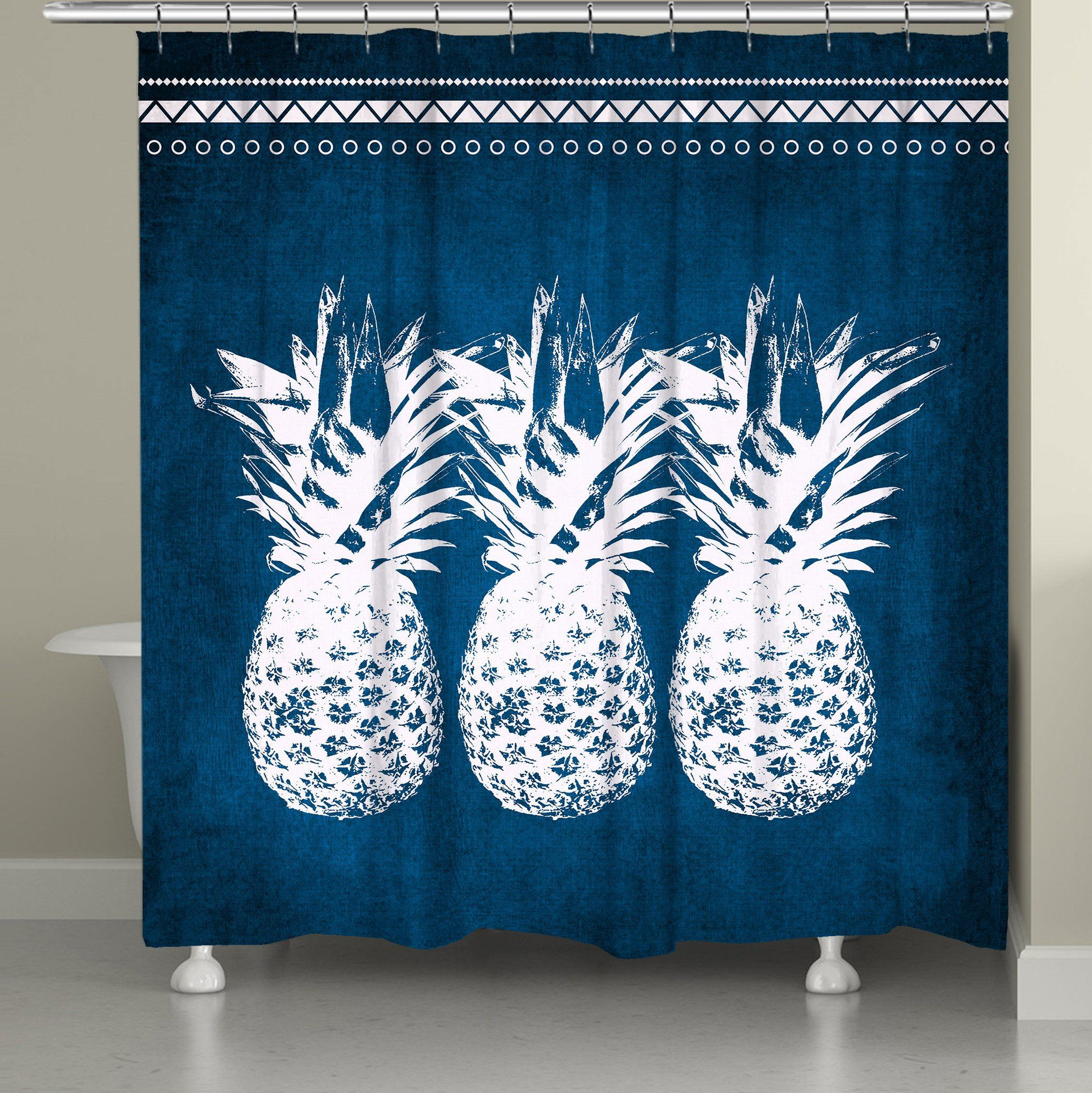 Indigo Pineapples Shower Curtain | Pineapple shower curtain and Products