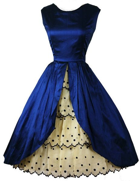 1950's cocktail party dress in cobalt silk satin, with embroidered ruffle organza skirt, fitted bodice, petal front open silk skirt, and embroidered organza ruffles embellished underskirt.