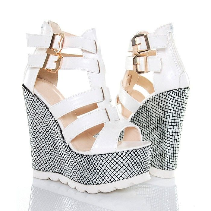 Sandaly Biale Na Srebrnych Koturnach Shoes Wedges Fashion