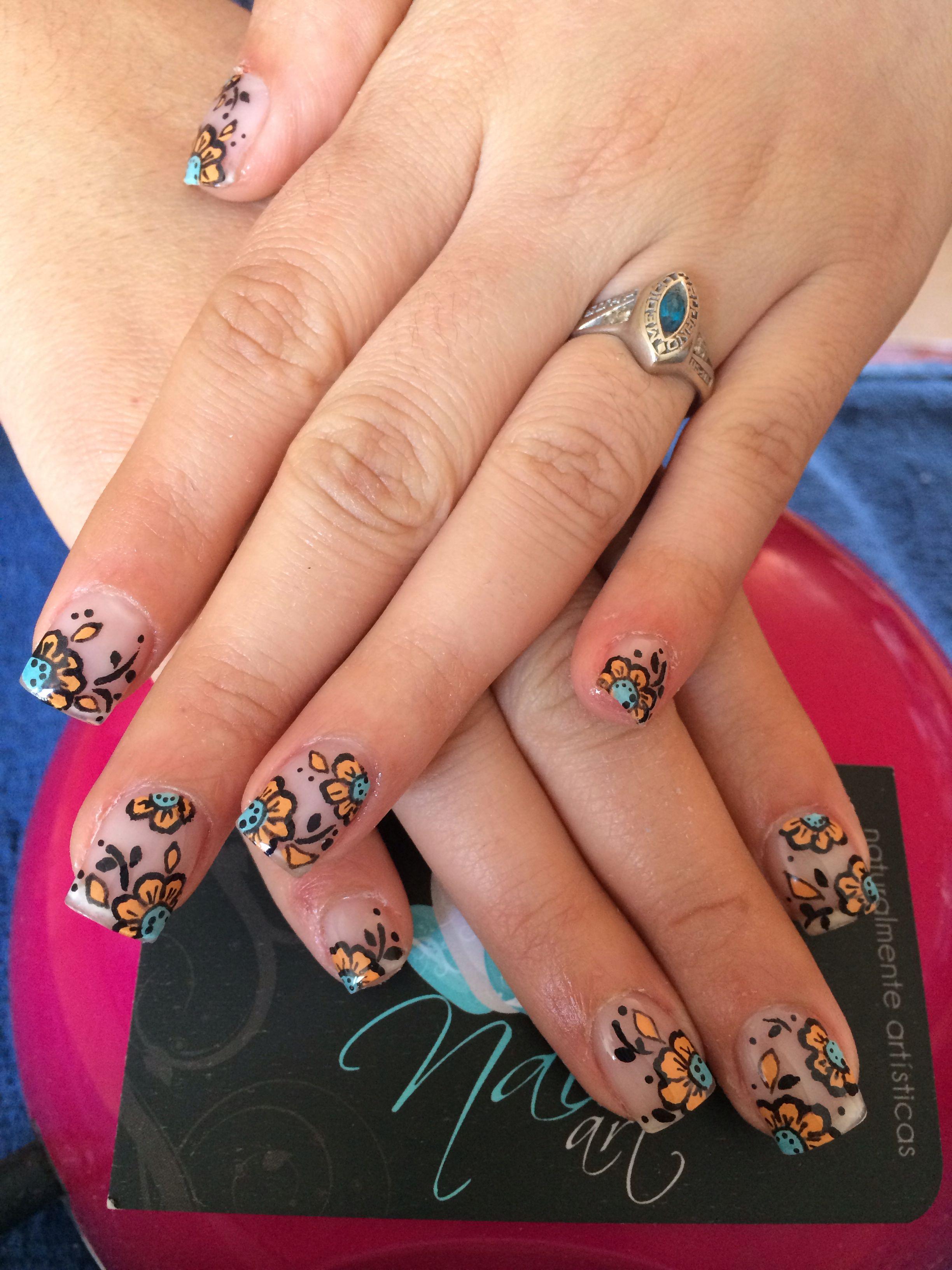Nails art, acrylic nails, flower nails