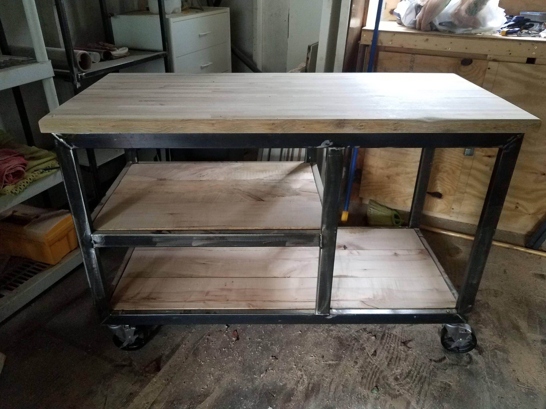 Eyna Industrial Metal And Wood Kitchen Island Wood Kitchen Island Wood Kitchen