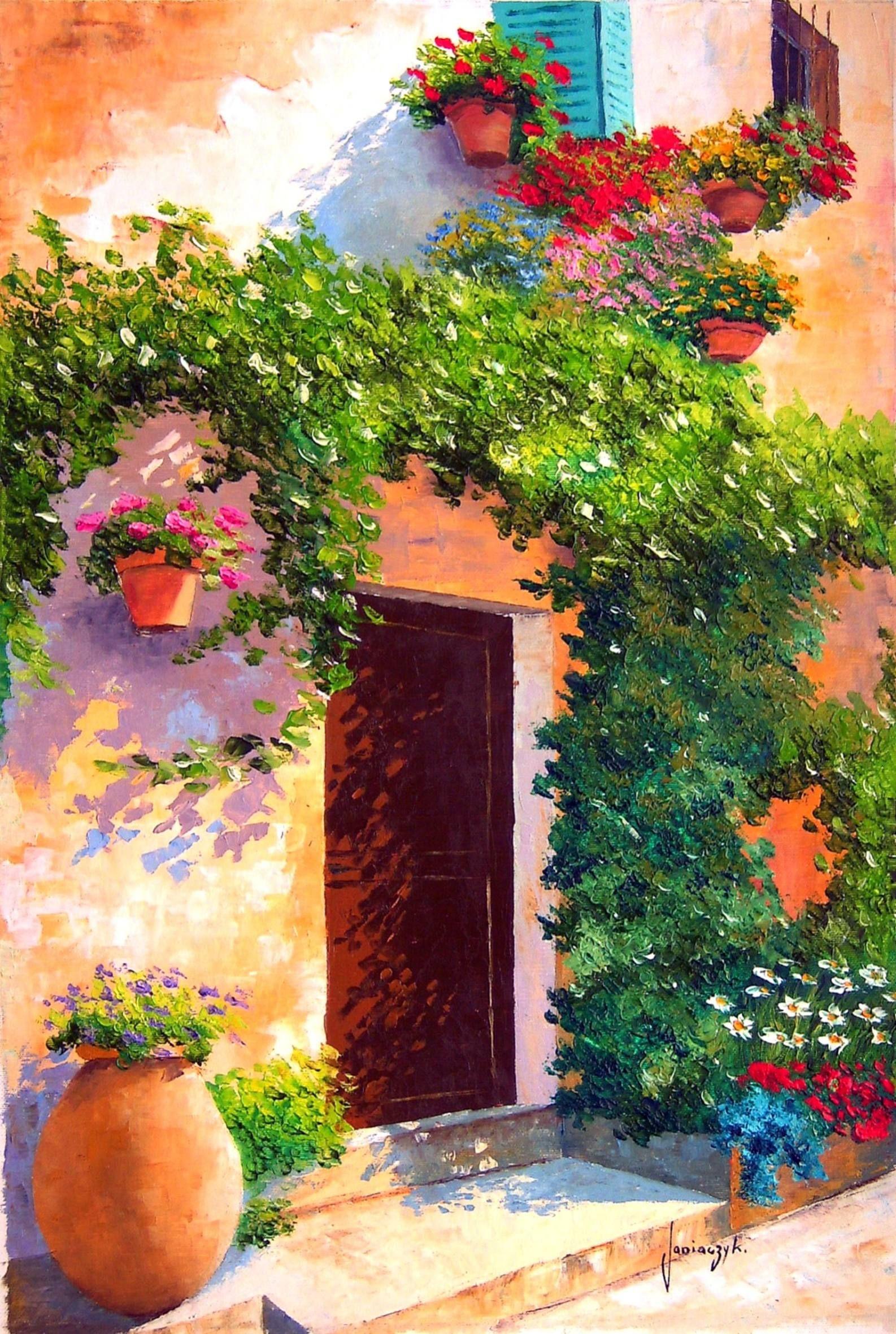 JM JANIACZYK - Façade fleurie - Provence. | paysages peinture ...