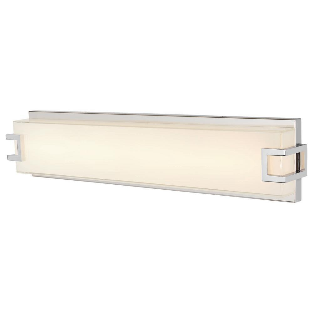 129 00 Home Depot 29 25 In W Home Decorators Collection Grandale 23 25 In Chrome Led Vanity Light 22732 The In 2020 Led Vanity Lights Led Vanity Vanity Lighting