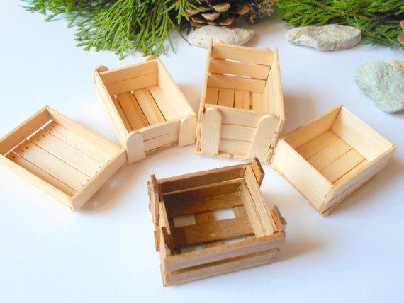 Miniature Basket Wooden Dollhouse Accessories Crate Garden Supplies Garden 1:12
