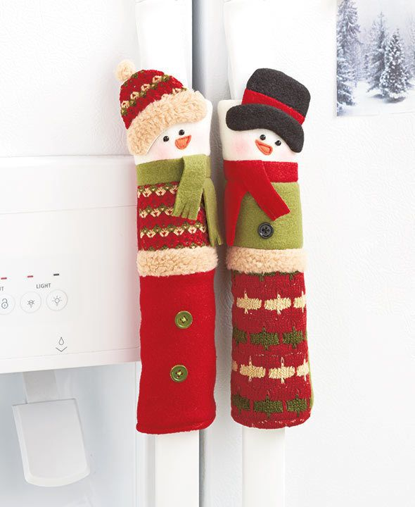 ordinary Snowman Kitchen Decor #8: SET OF 3 SNOWMAN APPLIANCE REFRIGERATOR STOVE OVEN HANDLE COVER KITCHEN  DECOR #Unbranded